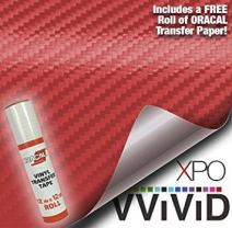 """VViViD Craft 3D Carbon Fibre Textured Vinyl Sheet 1ft x 5ft for Silhouette, Cricut and Cameo Machines Including 12"""" x 12"""" Sheet of Transfer Paper (Red)"""
