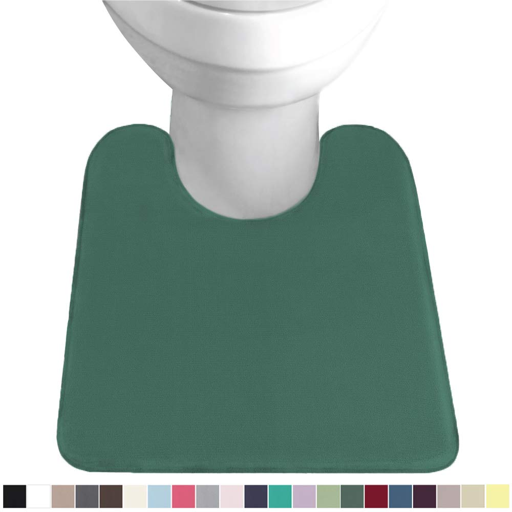 Gorilla Grip Original Thick Memory Foam Contour Toilet Bath Rug 22.5x19.5, U Shape, Cushioned, Soft Floor Mats, Absorbent Cozy Bathroom Rugs, Machine Wash and Dry, Plush Bath Room Carpet, Emerald