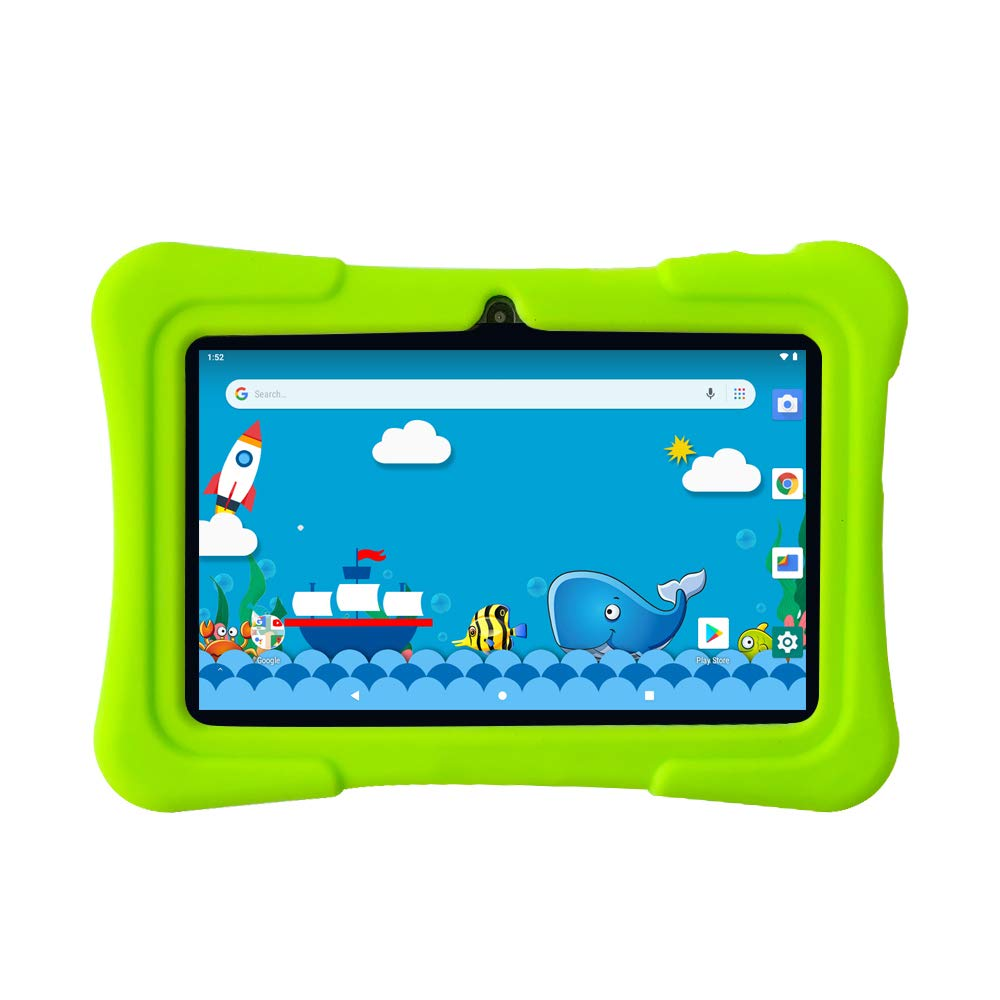Pritom 7 inch Kids Tablet | Quad Core Android,1GB RAM+16GB ROM | WiFi,Bluetooth,Dual Camera | Educationl,Games,Parental Control,Kids Software Pre-Installed with Kids-Tablet Case (Green)