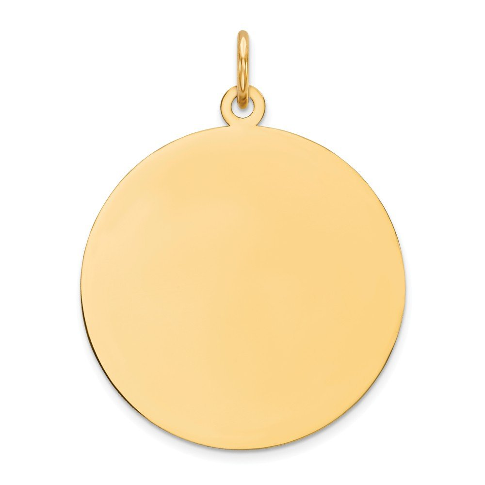 14k Yellow Gold .018 Gauge Circular Engravable Disc Pendant Charm Necklace Round Plain Fine Mothers Day Jewelry For Women Gifts For Her