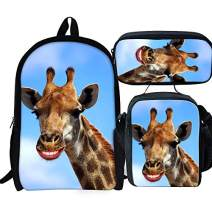 Elementary School Backpack Set Giraffe Print Bookbag with Lunch Bags and Pencil Case for Kids Girls Boys Teens