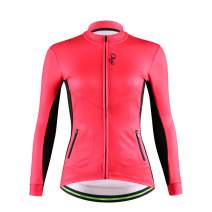 DuShow Women Thermal Cycling Fleece Jacket Winter Long Sleeve Cycling Thermal Jersey Shoftsell Windproof Bike Bicycle Jersey