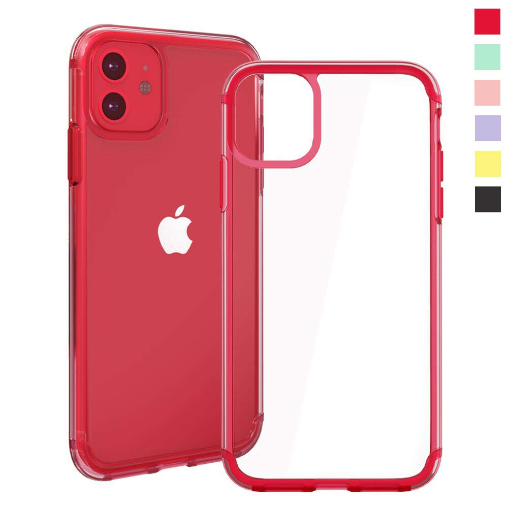 Inbeage Transparent iPhone 11 Case Colorful iPhone 11 Case with Matching Color Edge Full-Protective Shockproof Slim Case for iPhone 6.1inch (Red)