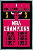 "Trends International NBA Chicago Bulls - Champions, 22.375"" x 34"", Silver Framed Version"