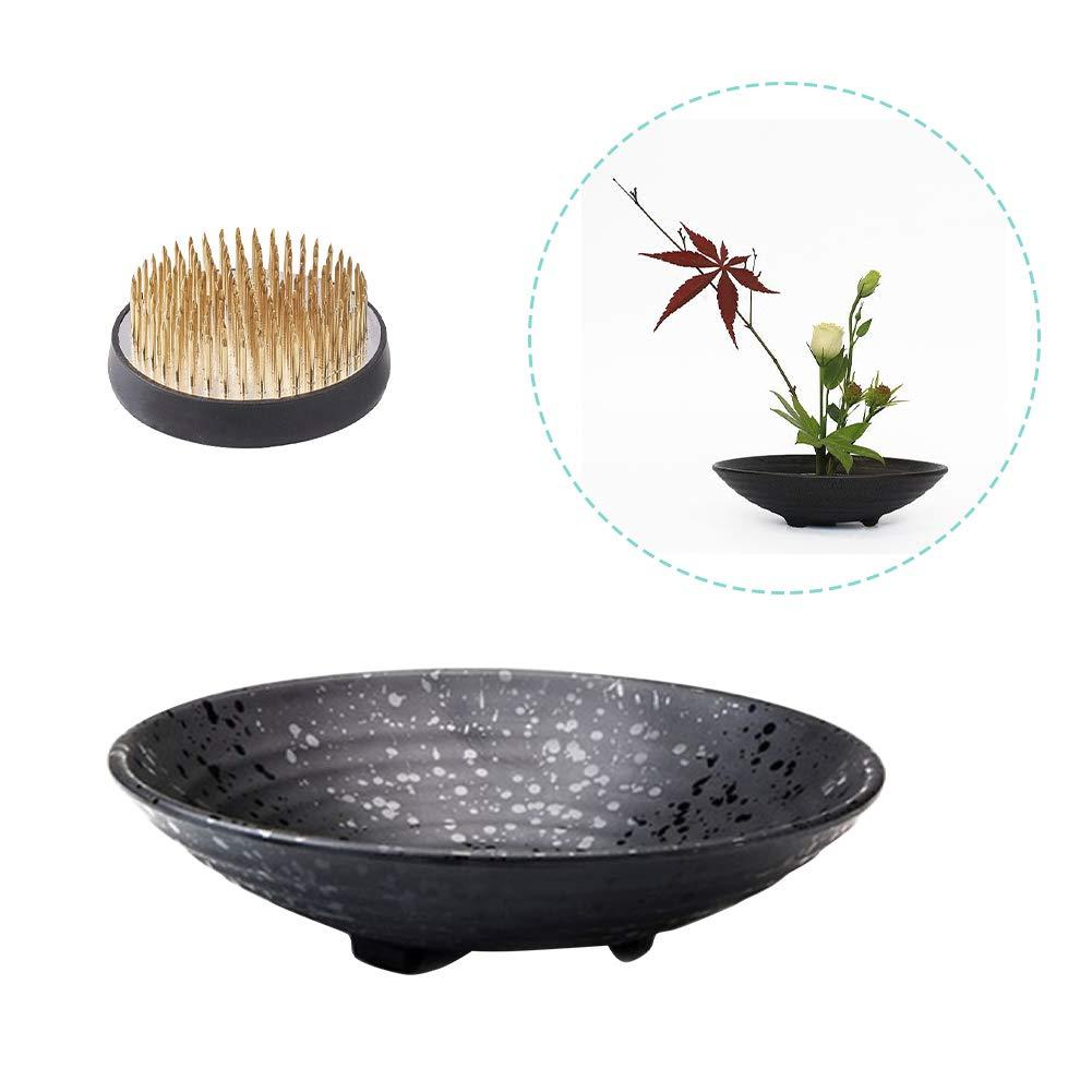 WANDIC Flower Arranging Supplies, Set of 2, Round Flower Frog & Ceramic Flower Pot for Ikebana Floral Arrangement Art Home Office Decoration