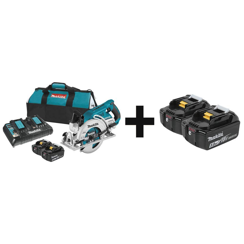 "Makita XSR01PT 18V X2 LXT Lithium-Ion (36V) Brushless Cordless Rear Handle 7-1/4"" Circular Saw Kit (5.0Ah) and Extra BL1850B-2 18V LXT Lithium-Ion 5.0Ah Battery, 2/pk"