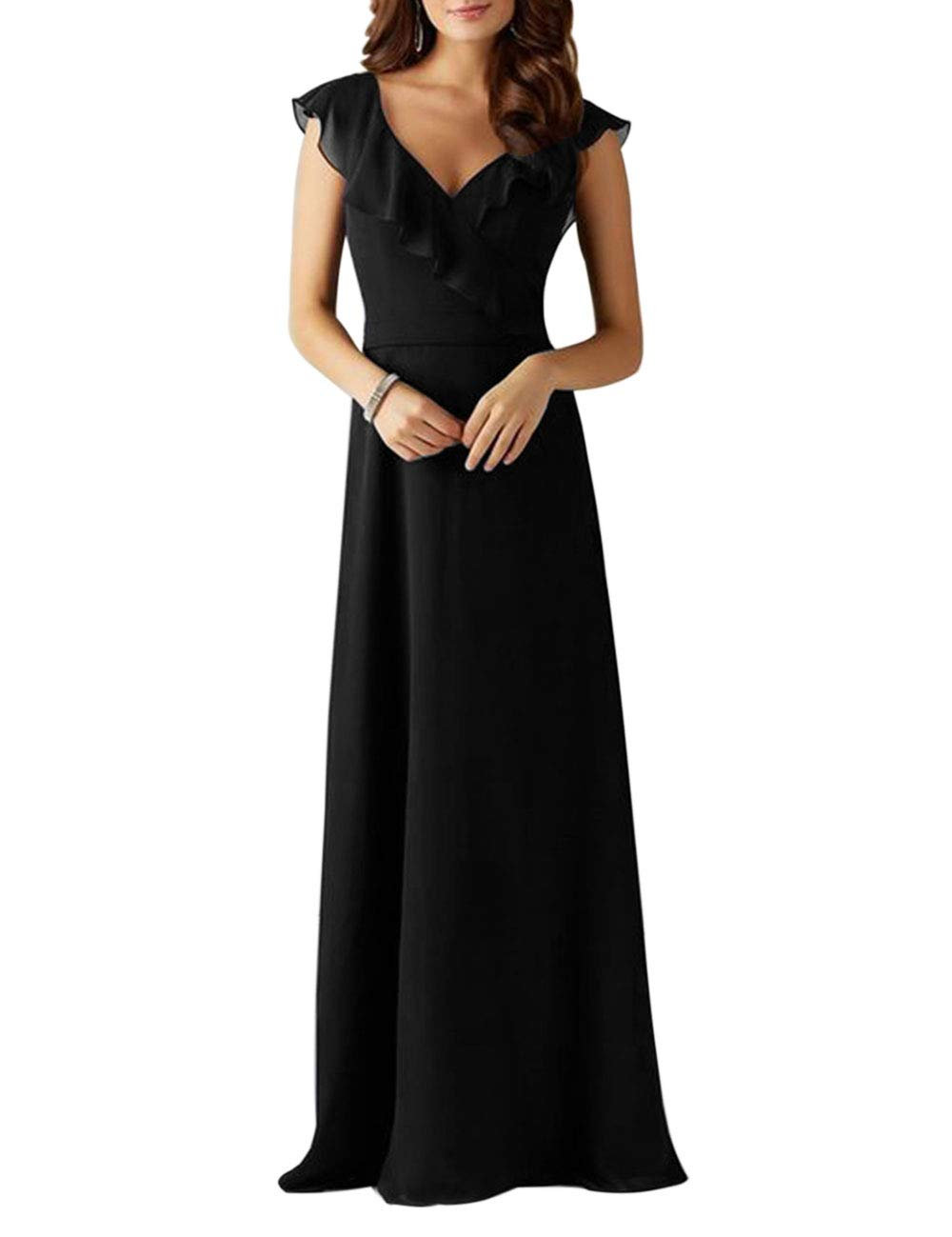 FASHIONMIA Women's Ruffle Chiffon Sleeveless Maxi Dress Summer Vintage Wedding Party Dresses