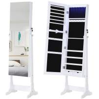 GISSAR Jewelry Organizer Full Length Mirror Jewelry Cabinet Standing / Wall Mounted Jewelry Armoire Storage With Lights Lockable White