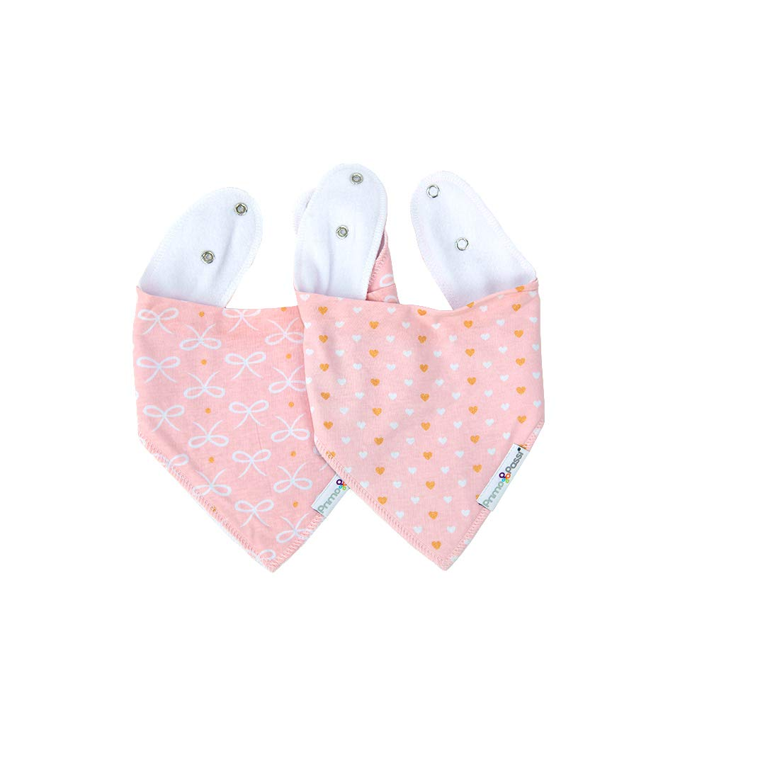 Primo Passi 2 Pack Baby Bandana Drool Bibs by Primo Passi I Best Teething and Drooling Absorbent Cotton I Nickle Free Adjustable Snap I Baby Boys & Girls (Pink and Gold)
