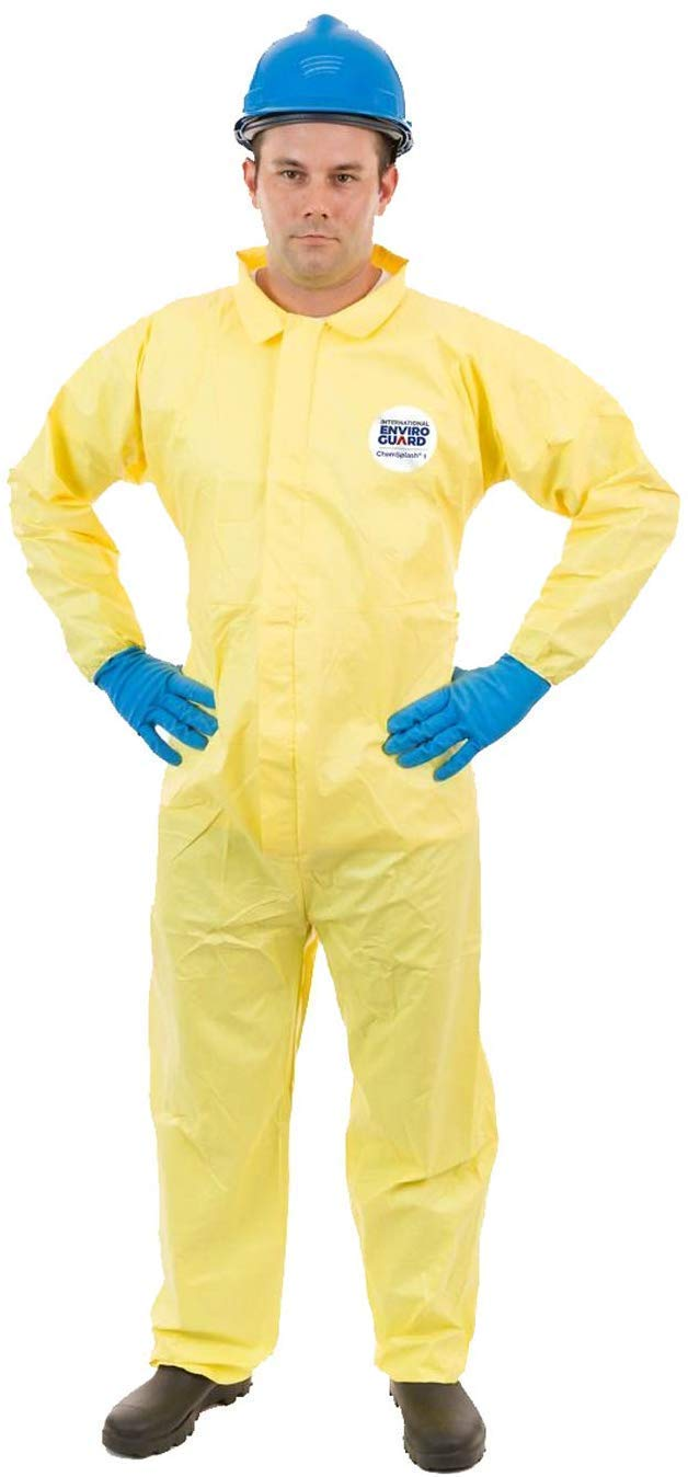 ChemSplash 1 Chemical Splash Protection Suit (Yellow) for Hazmat, Paint, and Light Duty Chemicals, Serged Seams (Case of 12) (4XL, Elastic Wrist, Open Ankle)
