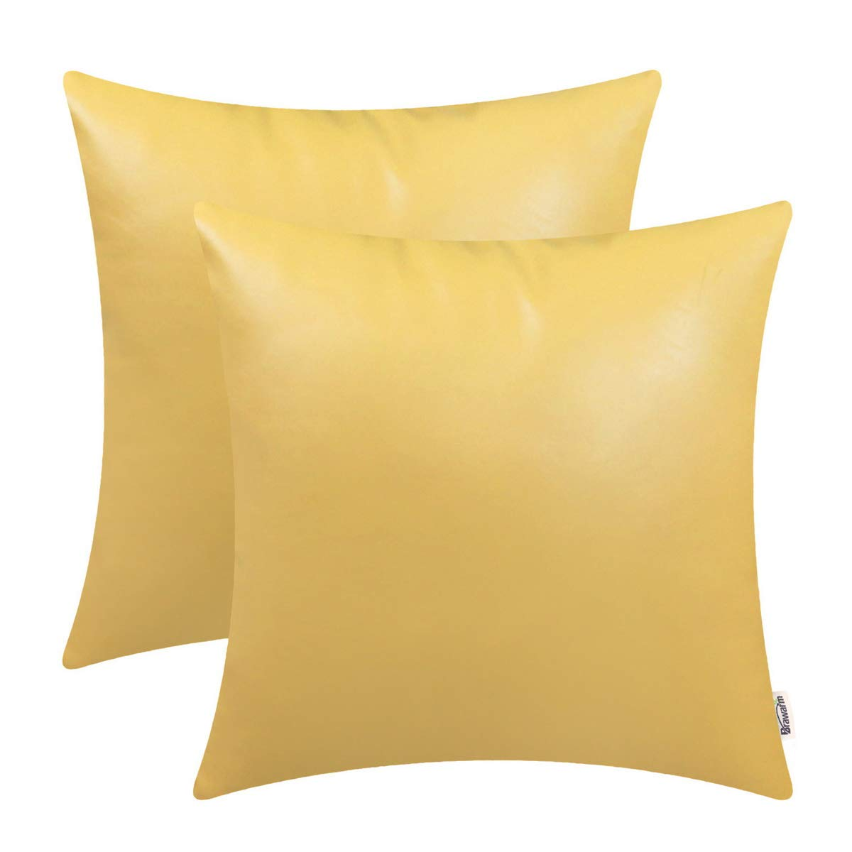 BRAWARM Pack of 2 Cozy Throw Pillow Covers Cases for Couch Sofa Home Decoration Solid Dyed Soft Faux Leather Both Sides 24 X 24 Inches Primrose Yellow
