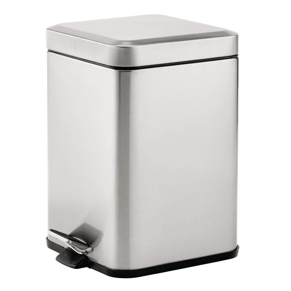 mDesign 1.5 Gallon Square Metal Step Trash Can Wastebasket, Garbage Container Bin for Bathroom, Powder Room, Bedroom, Kitchen, Craft Room, Office - Removable Liner Bucket - Brushed Steel