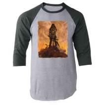 Barbarian by Frank Frazetta Art Gray L Raglan Baseball Tee Shirt