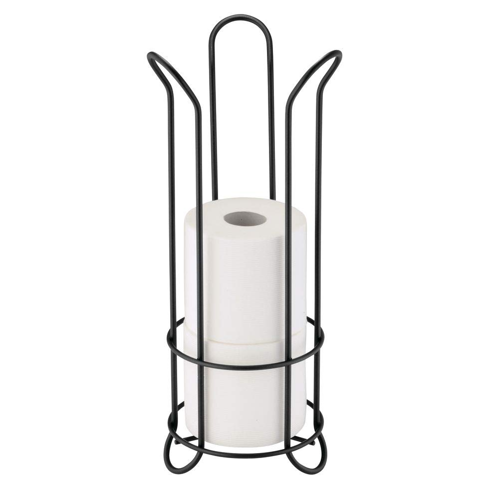 mDesign Decorative Metal Free Standing Toilet Paper Holder Stand with Storage for 3 Rolls of Toilet Tissue - for Bathroom/Powder Room - Holds Regular and Mega Rolls - Black