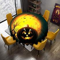 Halloween Round Tablecloths Evil Fierce Pumpkin and Bats Gold Black 100% Polyester Fabric Machine Washable Spill Resistant Circular Printed Tablecloth Wrinkle Free Dining Holiday Party Decor 60 Inch