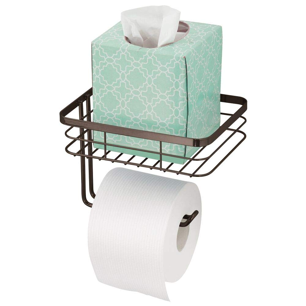 mDesign Toilet Tissue Paper Holder and Multi-Purpose Shelf - Wall Mount Storage Organizer for Bathroom, Holds 1 Regular or Mega Roll - Durable Metal Wire Design - Bronze