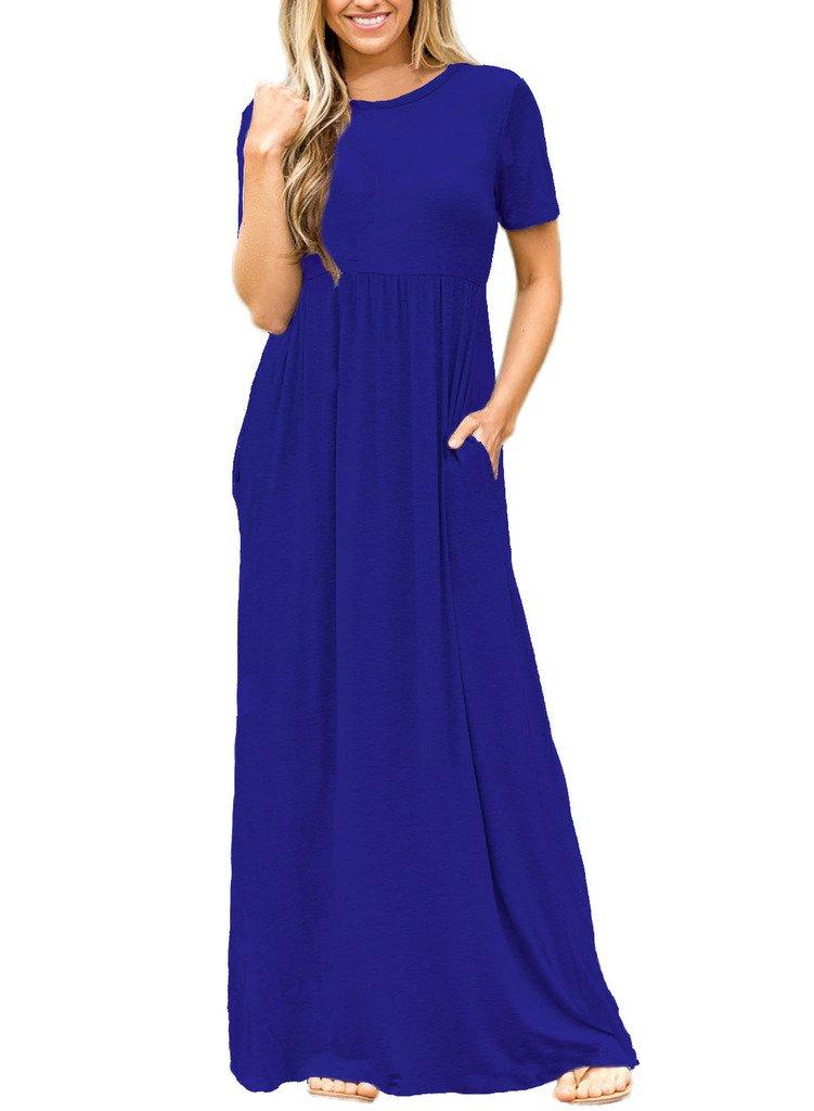ROSKIKI Women's High Waist Pleated Pockets Short Sleeve Long Shirt Maxi Dress