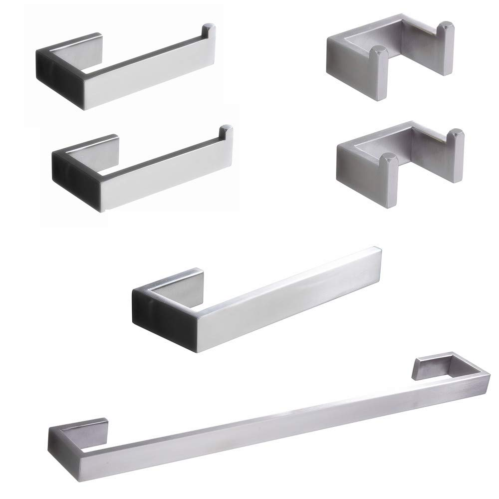 Cavoli 6-Piece Bathroom Hardware Accessory Set Wall Mounted,Include 2X Double Robe Hook,2X Toilet Paper Holder,8''Hand Towel Holder,24'' Towel Bar-304 Stainless Steel,Brushed Nickel Finished