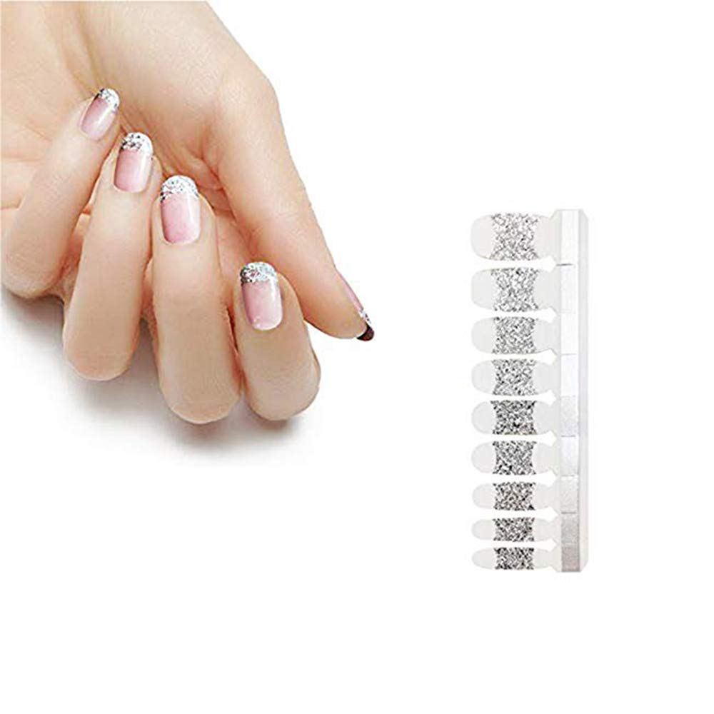 HIGH'S Glitter Series French Nail Wraps Decals Art Transfer Sticker Manicure DIY Full Nail Polish Patch Strips for Wedding, Party, Shopping, Travelling, 18pcs (French-Silver Glitter)