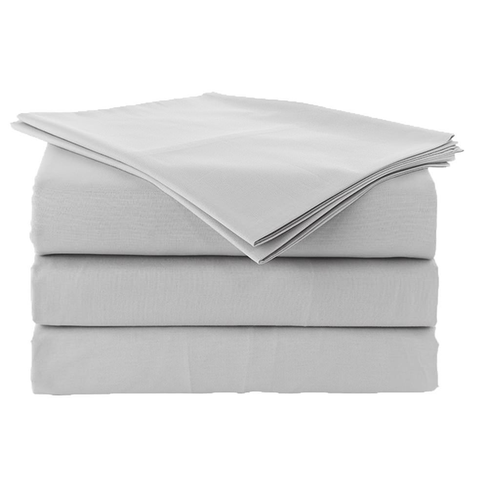 Premium 100% Cotton Bed Sheets - 800 Thread Count 4-Piece Sheet Set - Ultra Soft & Smooth Hotel Luxury 4pc Bedding Set Solid 15 inches Deep Pocket (Short Queen, Silver Grey)