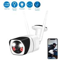 Outdoor Security Camera,WESECUU 1080P WiFi Home Camera with Floodlight and Siren Alarm,Two Way Audio Security Camera with Smart Human Detection Color Night Vision for Home Shop Factory