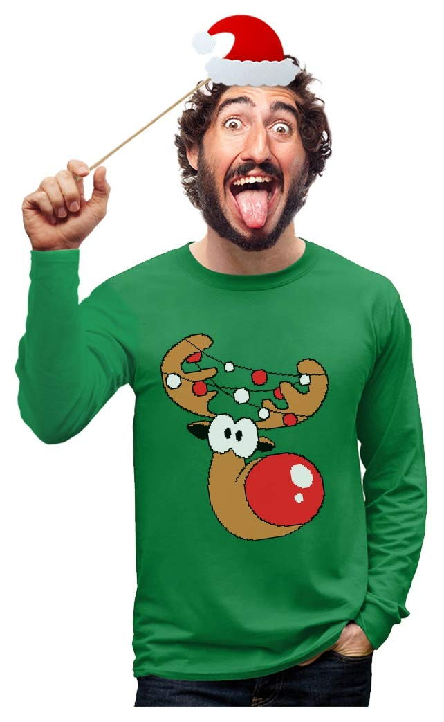 Reindeer Funny Christmas Long Sleeve T Shirt Men