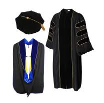 HappySecret Happy Secret Doctoral Gown Tam and Hood with Gold Pinging