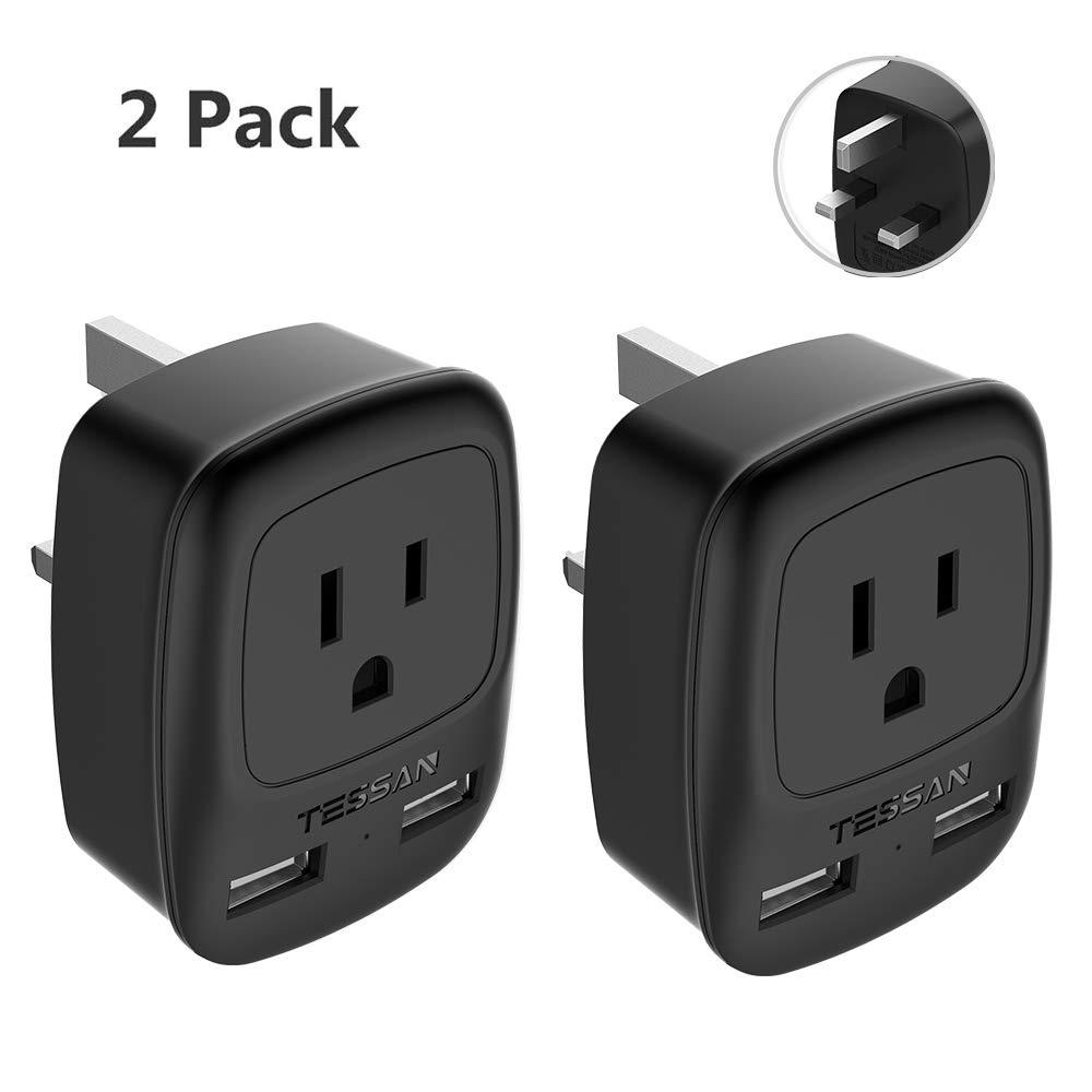 UK Ireland Hong Kong Travel Adapter 2 Pack, TESSAN USA to UK British England Scotland Irish Outlet Power Adaptor with Dual USB Charging Ports- Grounded Type G Plug