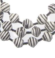 Recycled Paper Bead Necklace from Uganda - Fair Trade African Jewelry by The Bead Chest (Black White Stripe)