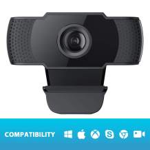 COOAU 1080P Webcam with Microphone, PC Laptop Desktop USB 2.0 Full HD Web Camera for Video Calling, Studying, Conference, Recording, Gaming with Rotatable Clip