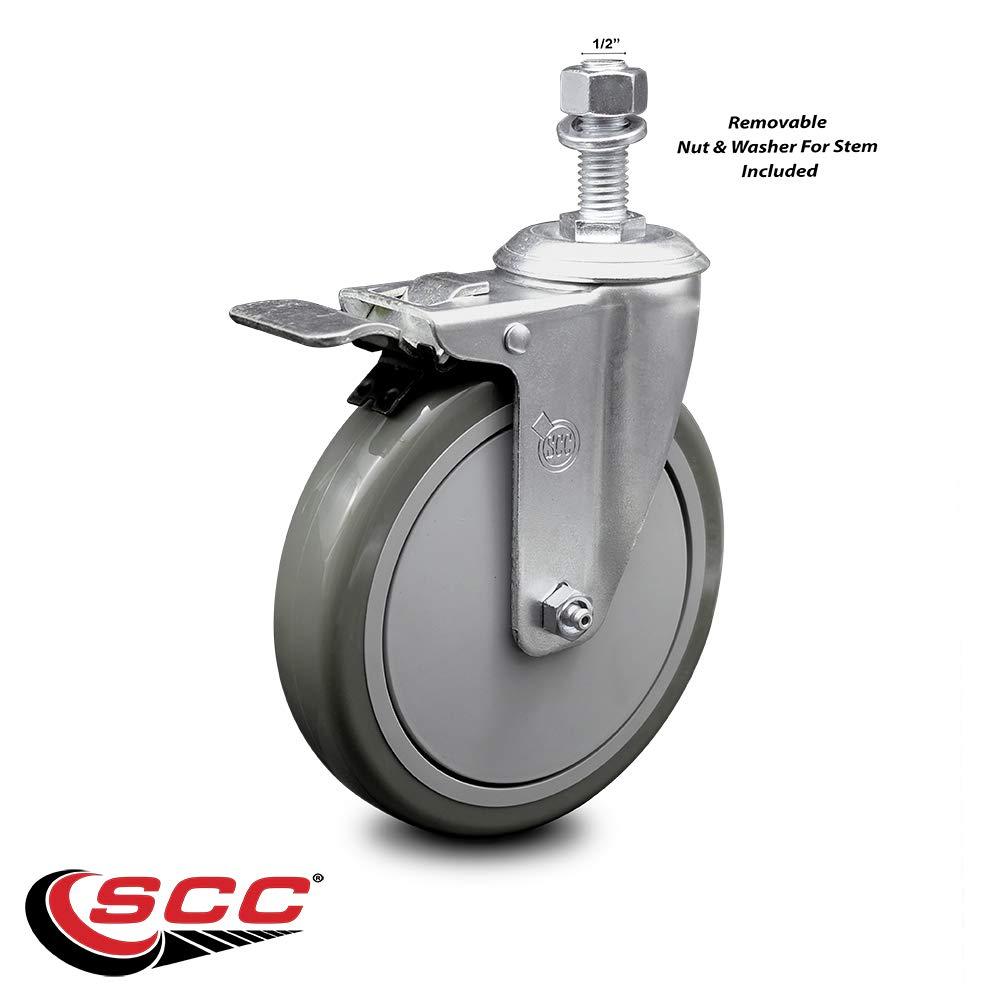 "Gray Polyurethane Swivel Threaded Stem Caster w/6"" x 1.25"" Wheel and 1/2"" Stem & Total Locking Brake - 300 lbs Capacity/Caster - Service Caster Brand"