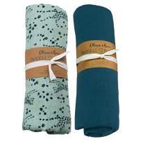 Oliver & Rain Boy Organic Muslin Swaddle Baby Blanket, Blue Cheetah, Blue Coral