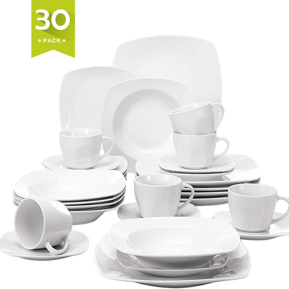 Malacasa 30 Pieces Dinnerware Set Square Dishes White; Includes 6 Dinner Plates 6 Soup Plates 6 Dessert Plates, 6 Mugs and 6 Saucers, Service for 6 Series Julia
