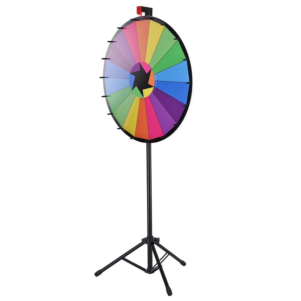 """WinSpin 30"""" Editable Color Prize Wheel of Fortune 18 Slot Floor Stand Tripod Spin Game Tradeshow Carnival"""