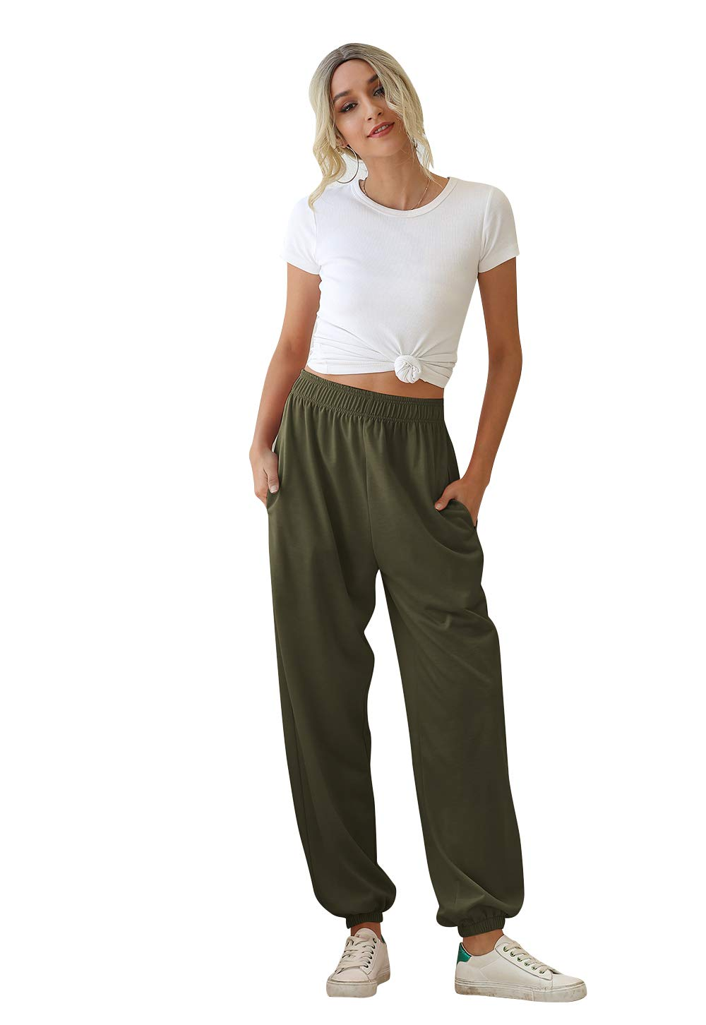 MHSLKER Women's Active High Waisted Sweatpants Joggers Lounge Pants Lightweight Baggy Workout Sportswear with Pockets