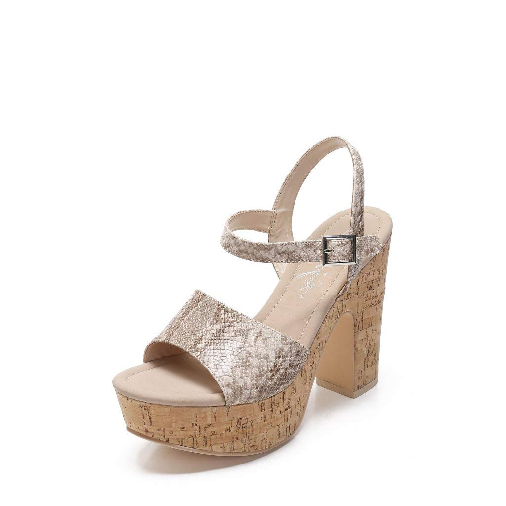 MACKIN J G374-9 Women's Ankle Strap Chunky Heel Platform Sandals