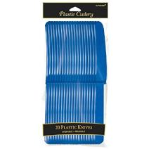 Amscan 4548.105 Plastic Premium Knives, 20 pieces, Bright Royal Blue
