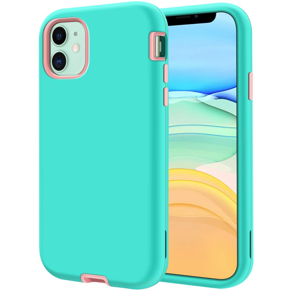 """LOEV iPhone 11 Case, Heavy Duty Shockproof Defender Case Armor Full Body 3 Layer Hybrid Protective Rugged Case Anti-Scratch Hard PC & Soft TPU Bumper Cover for iPhone 11 6.1"""", Mint Green/Rose Gold"""