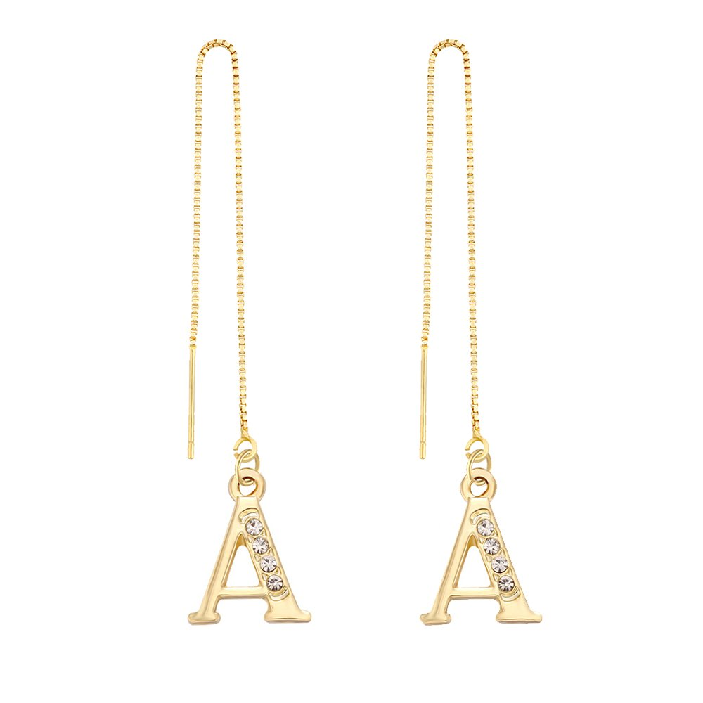 SENFAI 26 Alphabet Crystal Initial Letters Long Charms Adjustable String Earrings 3 Tone