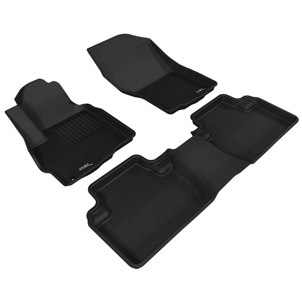 3D MAXpider Mitsubishi Outlander 2011-2019 Custome Fit All-Weather Car Floor Mats Liners, Kagu Series (1st & 2nd Row, Black)