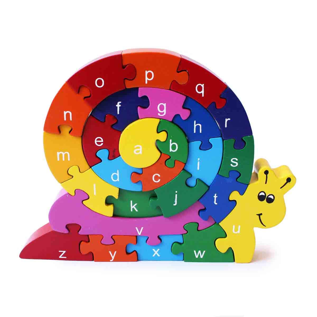 Shumee Wooden Snail Jigsaw Puzzle for Toddlers, Kids, Preschool Age Children   Educational Toy   100% Safe, Natural & Eco-Friendly   3 Years and up