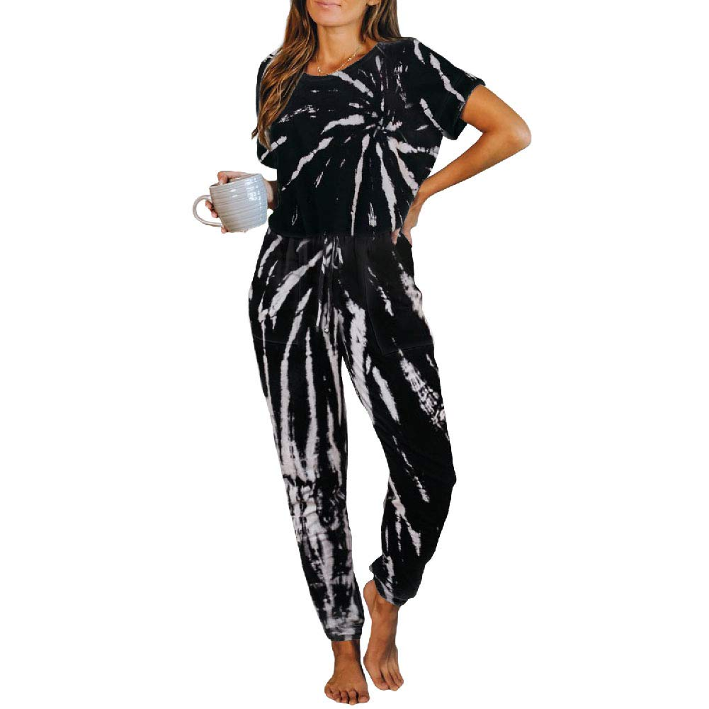 Tie Dye Lounge Sets for Women 2 Piece Long Sleeve Shirt + Long Pants Pajamas Set