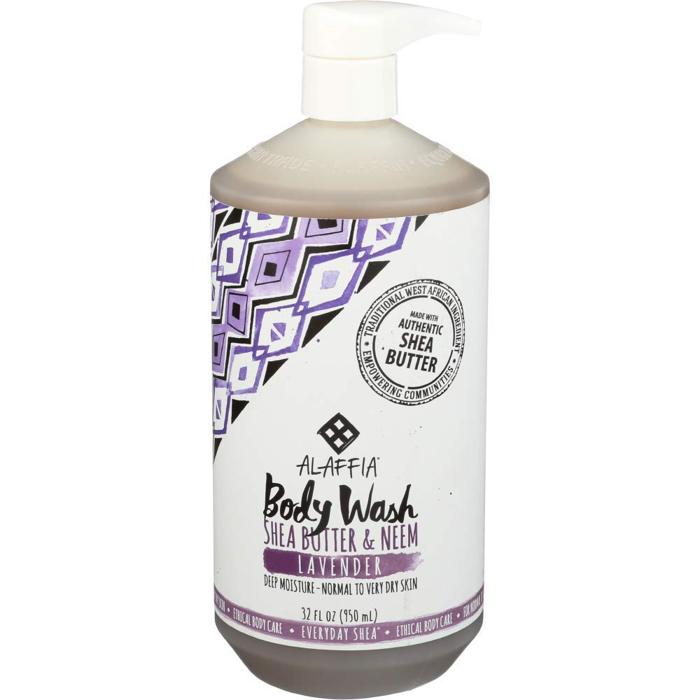 Alaffia - Everyday Shea Body Wash, Naturally Helps Moisturize and Cleanse without Stripping Natural Oils with Shea Butter, Neem, and Coconut Oil, Fair Trade, Lavender, 32 Ounces