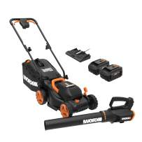 WORX WG958 14-inch 40V (4.0AH) WG779 Cordless Lawn Mower and WG547.9 Power Share Cordless Turbine Blower