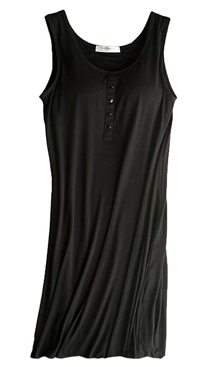 FOURSTEEDS Womens Modal Built in Bra Camisole Shelf Bra Spaghetti Straps Tank Dress