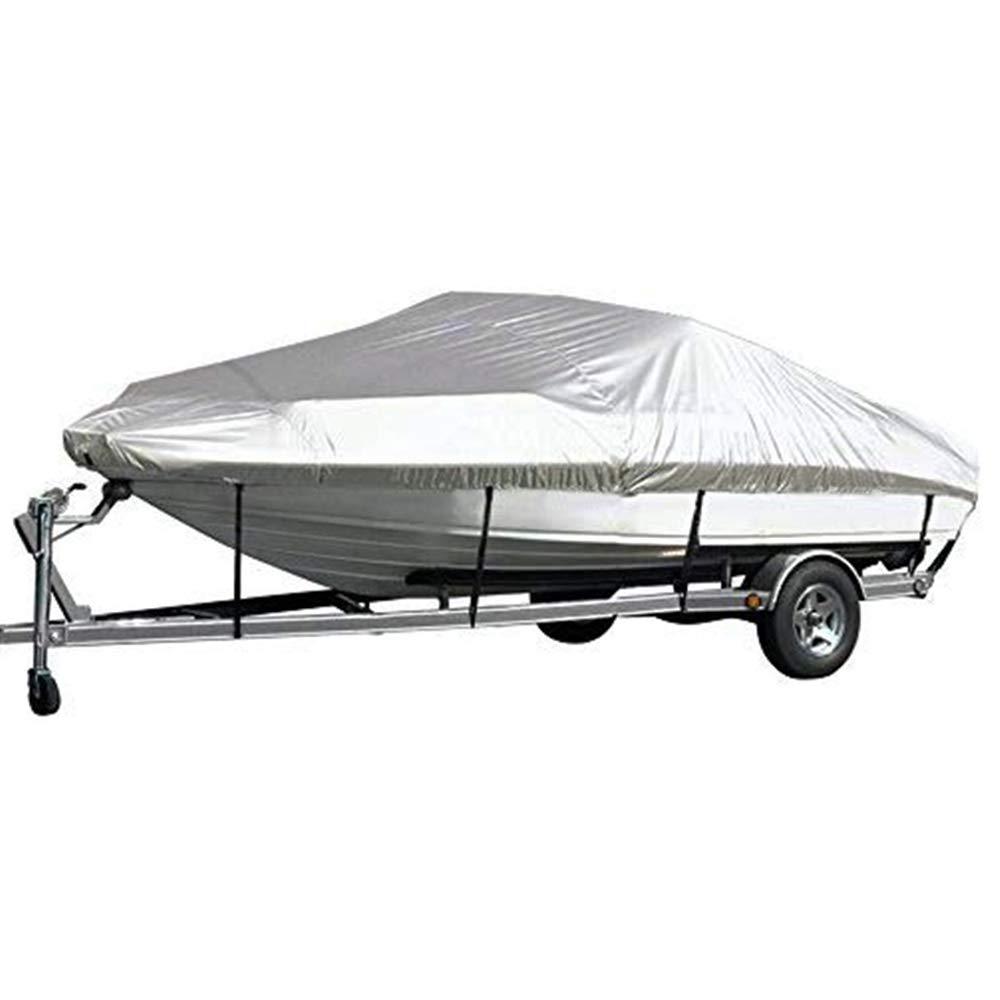 Kayme Trailerable Runabout Boat Cover Waterproof, 4 Layers Heavy Duty Aluminum Sun Rain Uv Protection, Fit V-Hull Tri-Hull Fishing Ski Pro-Style Bass Boats, Full Size D