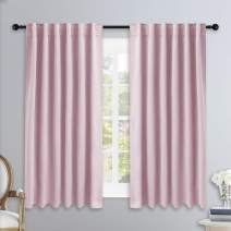 NICETOWN Bedroom Draperies Blackout Curtain Panels - (Lavender Pink/Baby Pink Color) 52 x 54 inches, Set of 2 Panels, Solid Room Darkening Blackout Drapes for Living Room