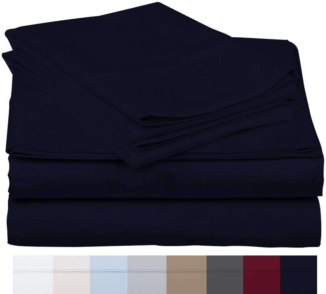"""600 Thread Count 100% Long Staple Soft Egyptian Cotton Sheet Set, 4 Piece Set, TWIN SHEETS,upto 17"""" Deep Pocket, Smooth & Soft Sateen Weave, Deep Pocket, Luxury Hotel Collection Bedding, NAVY BLUE"""
