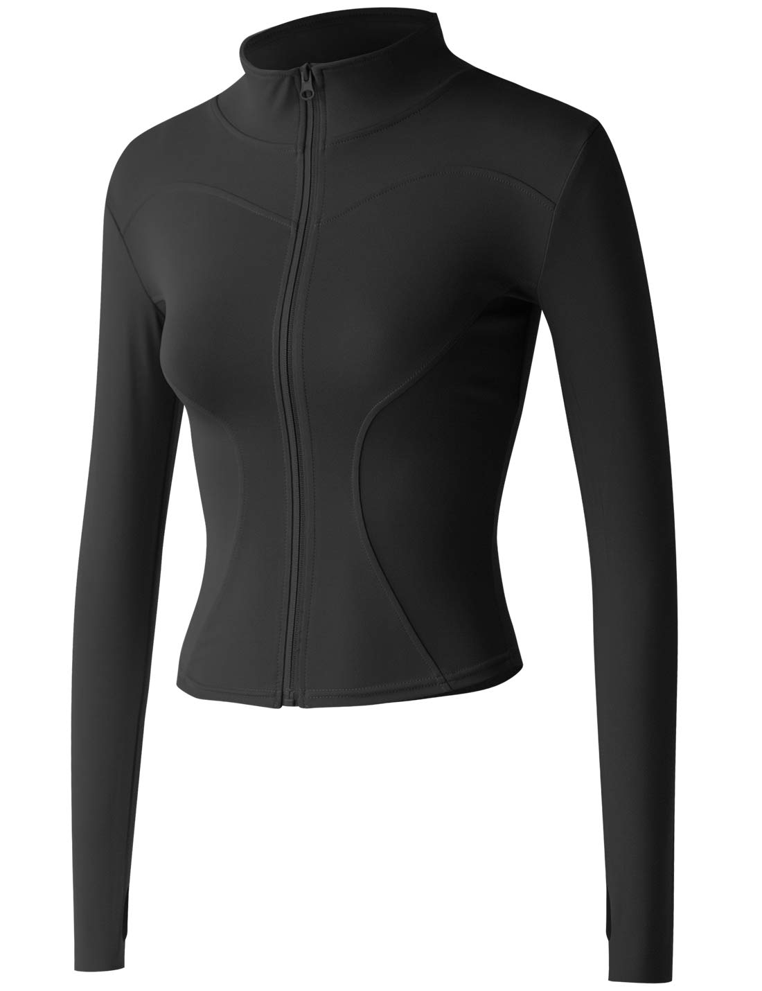Gacaky Women's Slim Fit Lightweight Athletic Full Zip Stretchy Workout Running Track Jacket with Thumb Holes