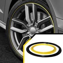 Upgrade Your Auto Wheel Bands Yellow Insert in Black Track Pinstripe Protective Rim Trim Curb Rash Guard